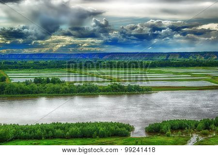 Aerial View Of The River Irtysh Russia Siberia