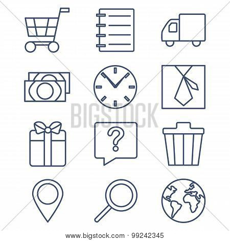 Set of line icons for shopping, e-commerce.
