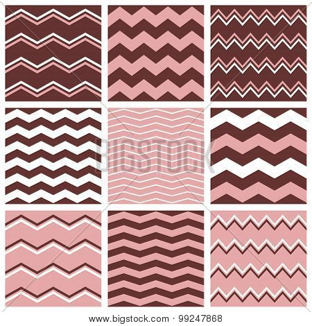 Tile vector pink, pastel brown and white pattern set with zig zag background for seamless decoration wallpaper poster