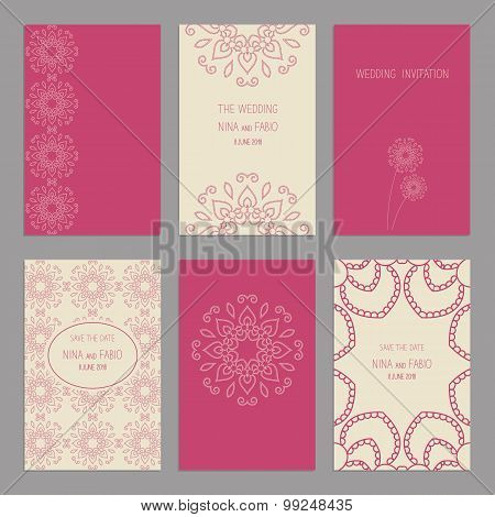 Vector Set of of vintage cards  templates editable. Wedding invitation ?ard, save the date cards, th