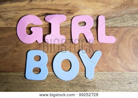 colorful letters - the words girl and boy