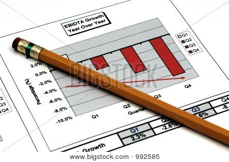 Close Up Of Business Report With Pencil
