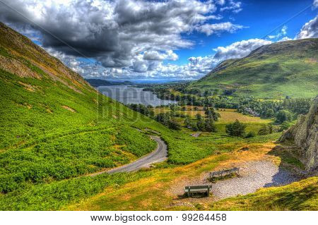 Elevated view of Ullswater Lake District Cumbria England UK from Hallin Fell in summer HDR