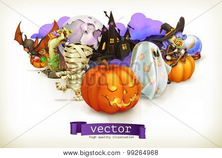 Happy Halloween, vector illustration
