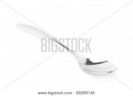 Stainless steel dessert spoon isolated