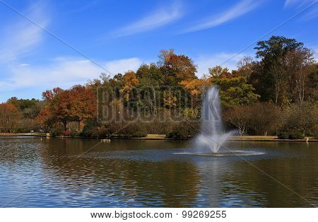 Fountain at Freedom Park in Charlotte, North Carolina during the fall season