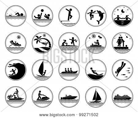 Set of vacation at the sea icons. Collection of pictogram presenting different activities at the sea. Swimming icons. Vector illustration.