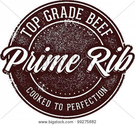Prime Rib Steak Menu Stamp