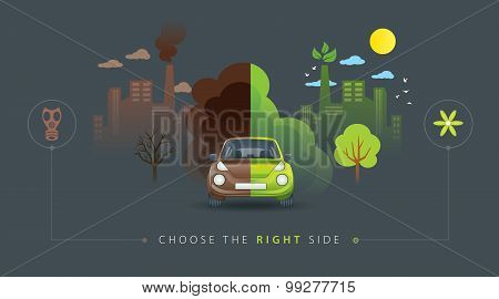 Green and brown half car