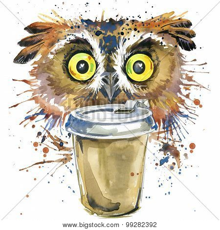 Coffee and owl T-shirt graphics. coffee and owl illustration with splash watercolor textured backgro