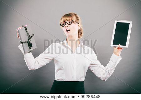Businesswoman holding document and tablet. Choice between digital and physical data storage. Woman with padlock chained file and pc computer. poster