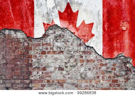 Canadian Flag On Grungy Wall