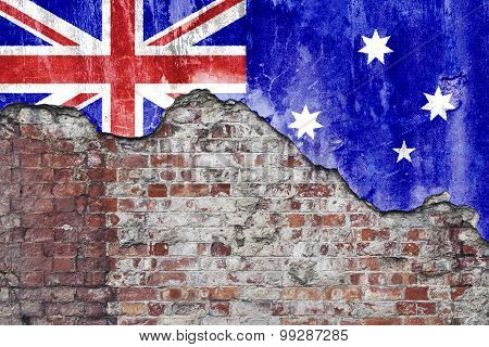 Australian Flag On Grungy Wall