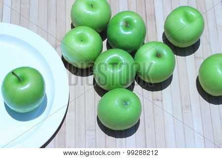 Apple green put on old brown wooden floors
