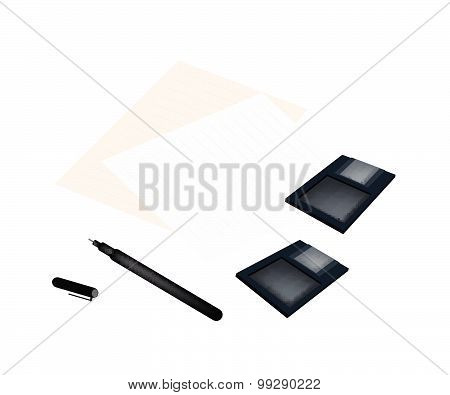 Floppy Disk With Pen And Blank Paper
