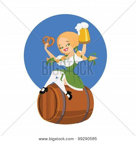 Beer girl in dirndl on keg with pretzel pinup