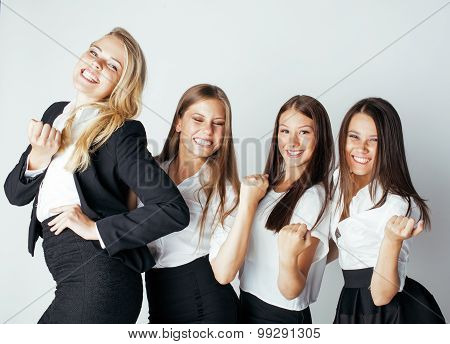 businesspeople women team talking gesture celebrating sucsess emotional on white background poster