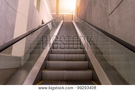 Escalators Stairway Inside Modern Office Building