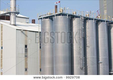 Big Silo's Of A Dutch Factory