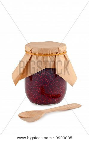 Jam In Jar, Wooden Spoon, Isolated On White Background.