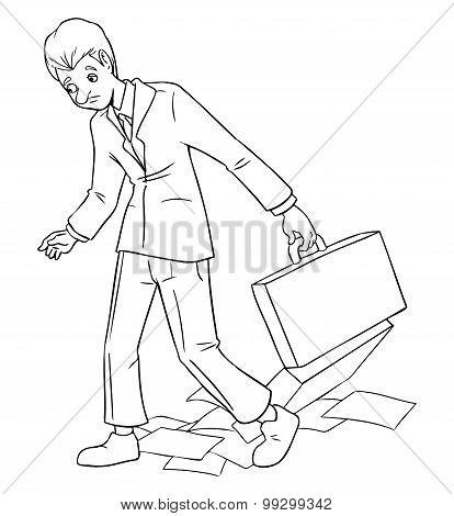 Businessman Walks Sluggish