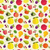 Seamless pattern of placer fruits of fruit trees. Citrus fruits stone fruits pome fruits and exotic fruits on a light background. poster