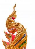 golden naga in Temple of Thailand on white background poster