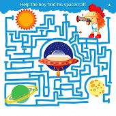 Funny maze game for kids. Visualor game for Preschool Children. Maze puzzle with solution. Vector Labyrinth for preschool children. Rebus or quiz for school poster