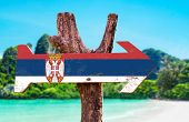 Serbia Flag wooden sign with river background poster