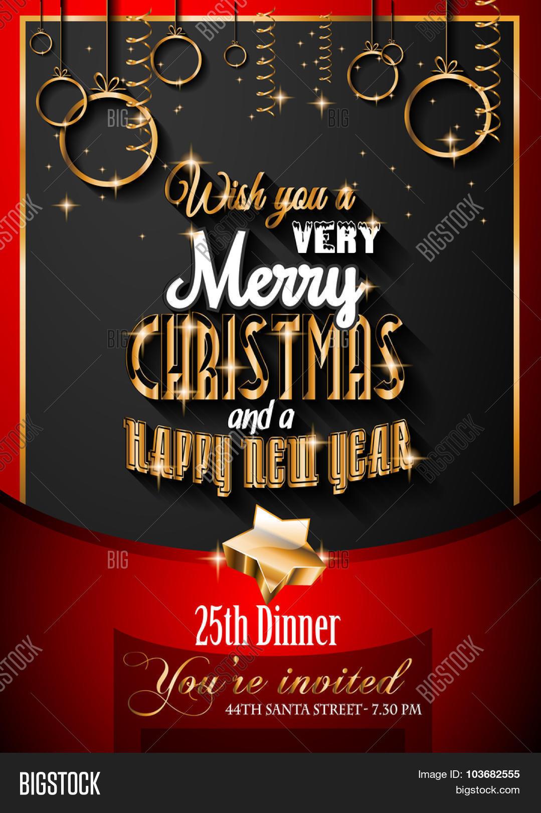 Christmas Restaurant Poster.Seasonal Christmas Vector Photo Free Trial Bigstock