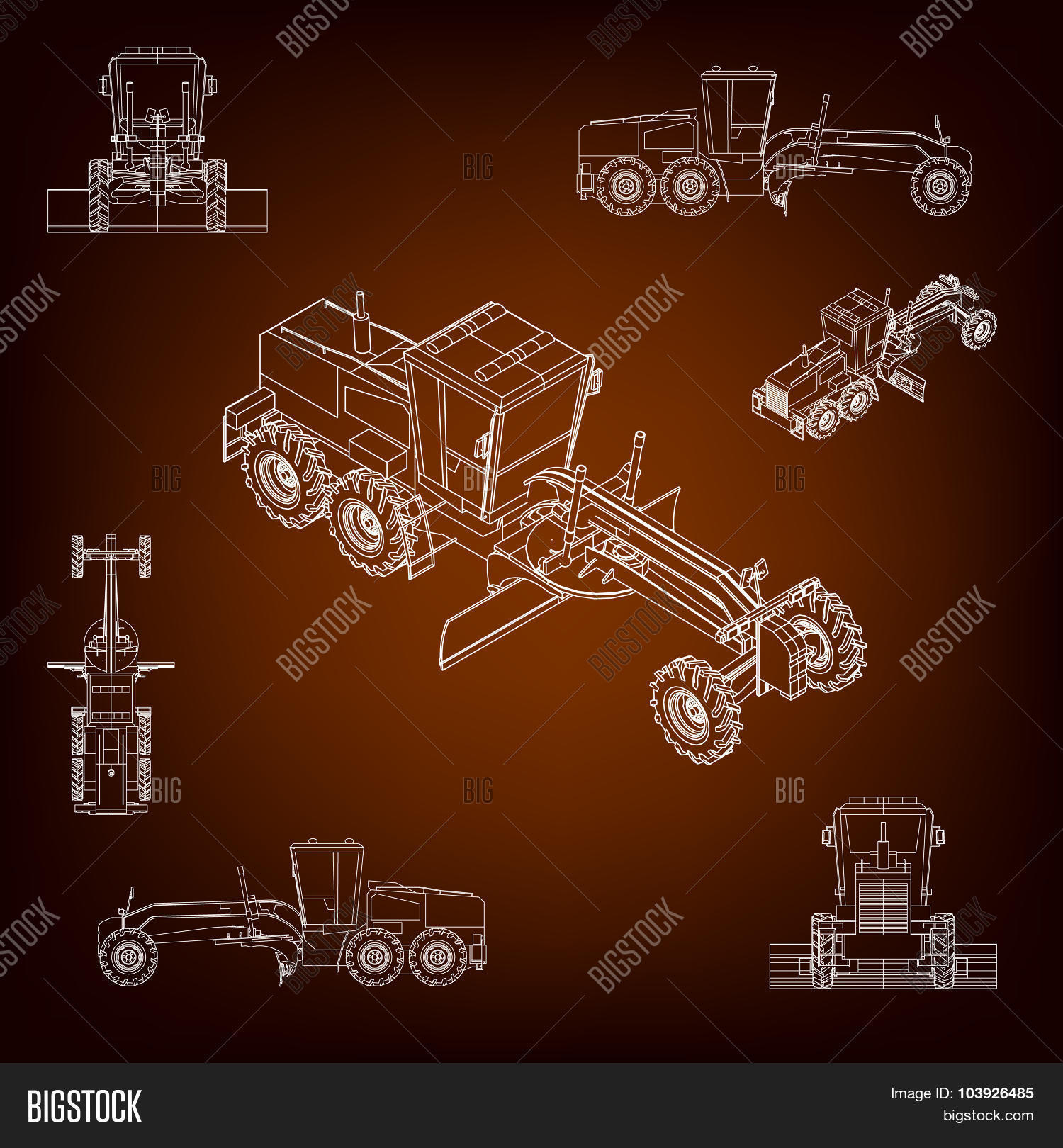 Grader, Road Scraper Vector & Photo (Free Trial) | Bigstock
