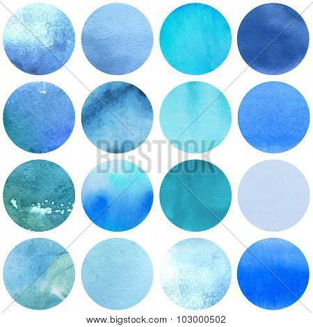 Watercolor circles collection  blue colors. Watercolor stains set isolated on white background. Watercolour palette. Seamless retro geometric pattern, wrapping paper.