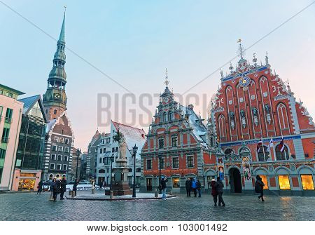 Main Treasures Of Old Riga At A Winter Day