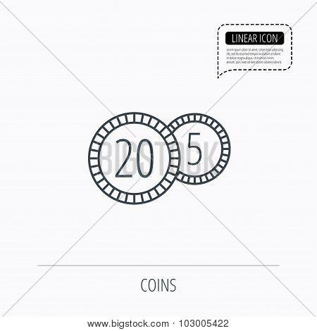 Coins icon. Cash money sign.