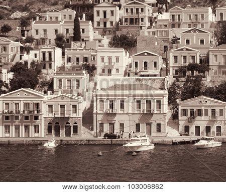 Greece. Island Symi. In Sepia Toned. Retro Style