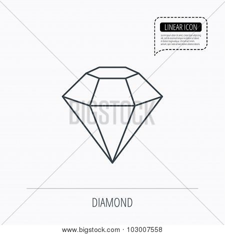 Diamond icon. Brilliant gemstone sign. Linear outline icon. Speech bubble of dotted line. Vector poster