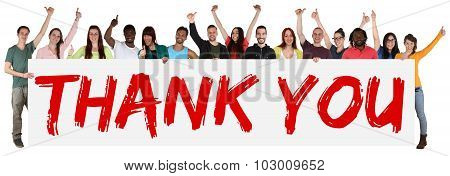 Thank You Sign Group Of Young Multi Ethnic People Holding Banner