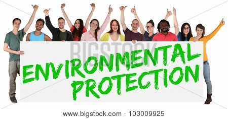 Environmental Protection Group Of Young Multi Ethnic People Holding Banner