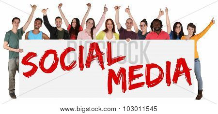 Social Media Networking Happy Group Of Young Multi Ethnic People Holding Banner
