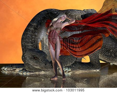 A dragon remains at the side of a fairy in a red dress to protect her from any enemies. poster