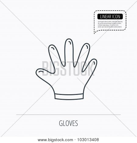 Rubber gloves icon. Latex hand protection sign. Housework cleaning equipment symbol. Linear outline icon. Speech bubble of dotted line. Vector poster