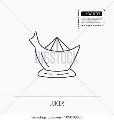 Juicer icon. Squeezer sign.