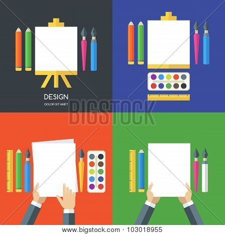 Set Of Vector Flat Illustrations Of Tools And Art Supplies For Design, Drawing, Painting, Creativity