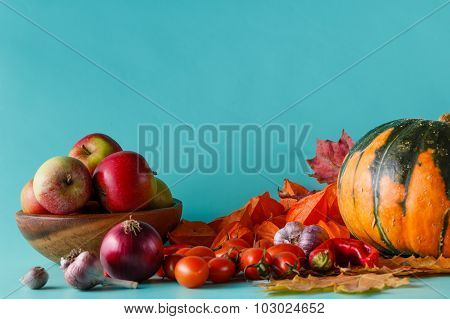 Colored Pumpkin And Fapples On Aquamarine Shadowless Background