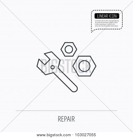 Repair icon. Spanner tool with screw-nut sign. Linear outline icon. Speech bubble of dotted line. Vector poster