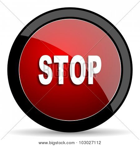 stop red circle glossy web icon on white background, round button for internet and mobile app