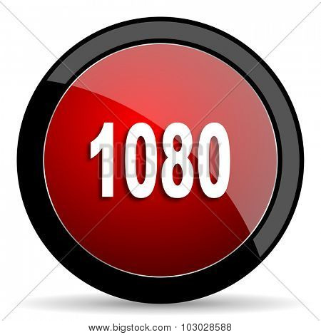 1080 red circle glossy web icon on white background, round button for internet and mobile app