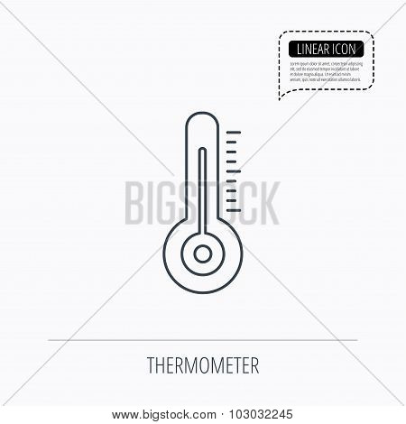 Thermometer icon. Weather temperature sign. Meteorology symbol. Linear outline icon. Speech bubble of dotted line. Vector poster