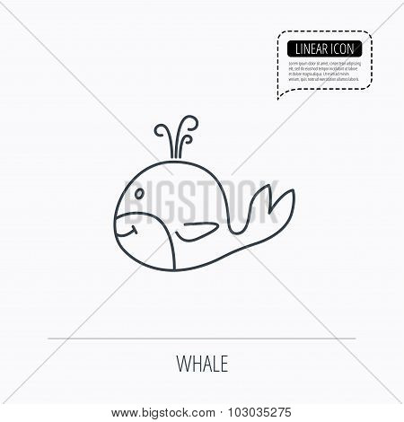 Whale icon. Largest mammal animal sign.