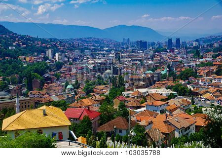 Rooftop View Of The Old Center Of Sarajevo